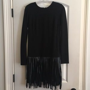 Amanda Uprichard L/S dress with leather fringe